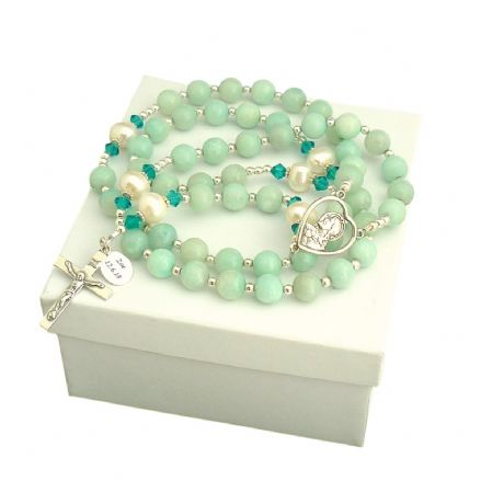Personalised Rosary Amazonite & Pearl, Sterling Silver